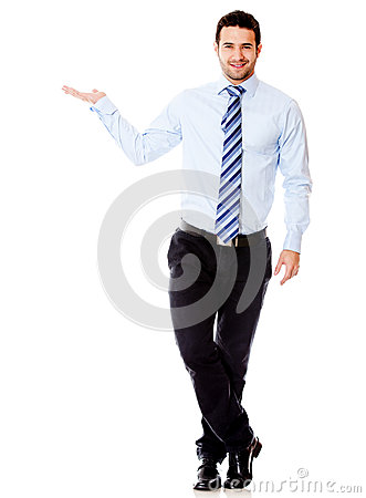 Businessman displaying something