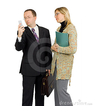 Businessman distracted by a phone call