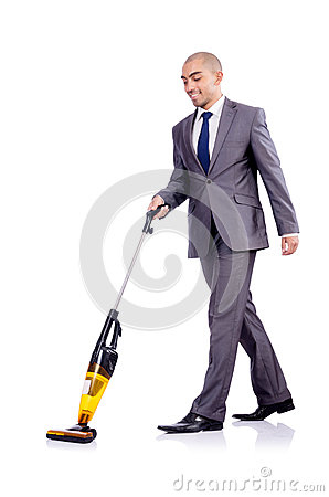 Businessman doing  cleaning on white