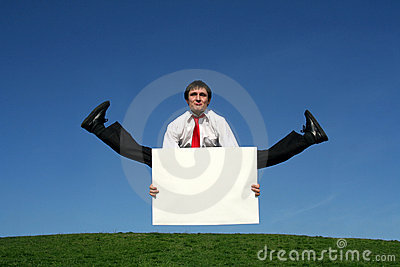 Businessman doing splits