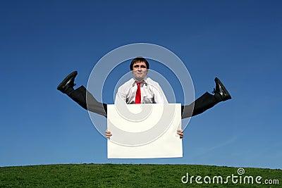 Businessman doing splits