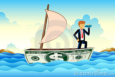 Businessman on Dollar Boat