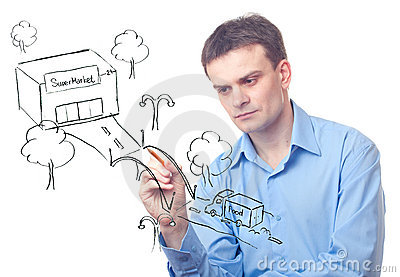Businessman drawing  a bridge