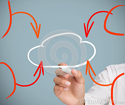 Businessman drawing cloud