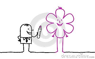 Businessman drawing flower