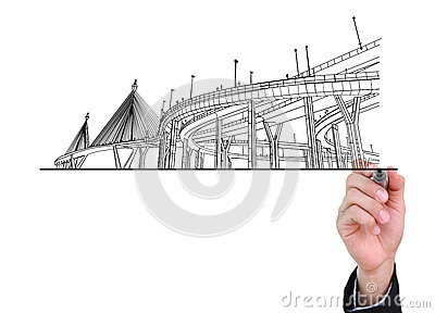Businessman drawing highways.