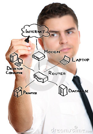 Businessman drawing an internet diagram