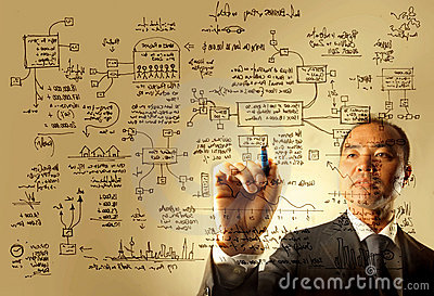 Businessman drawing a logistics graphic