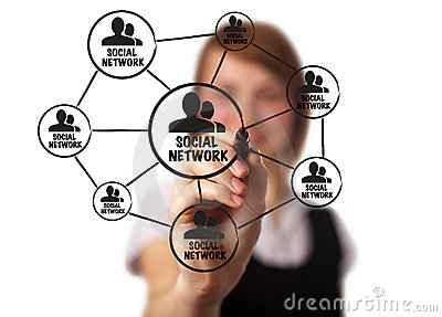 Businessman drawing a social network