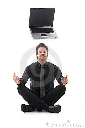 Businessman dreaming about a laptop