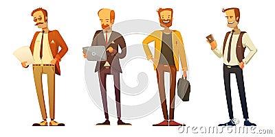 Businessman  Dress Code Retro Cartoon Set