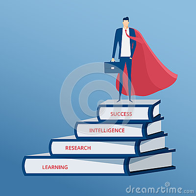 Free Businessman Dressed As A Superhero Stand On Top Of Books Stair. Stair Step To Success. Staircase To Success. Royalty Free Stock Photo - 85664195