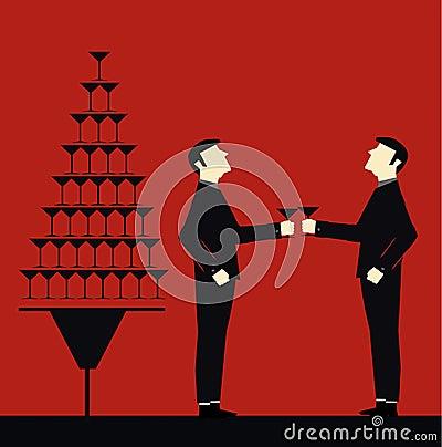 Businessman drink toasting