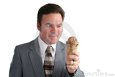 Businessman Drooling For Ice Cream