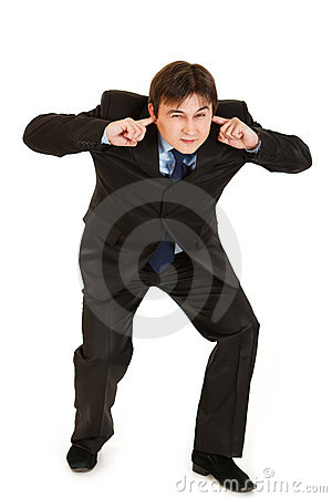 Free Businessman Ducking In Fear And Closing Ears Royalty Free Stock Image - 17448956