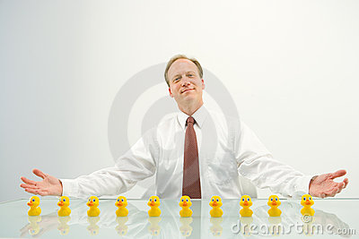 Businessman with ducks