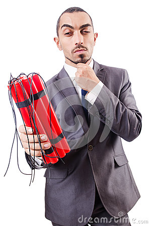 Businessman with dynamite