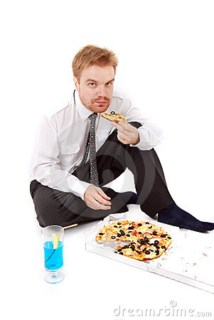 Businessman eat pizza