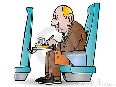 Businessman eat in plane