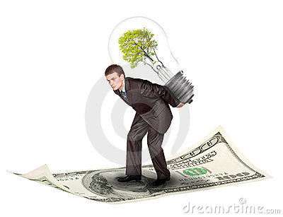 Businessman with eco lamp