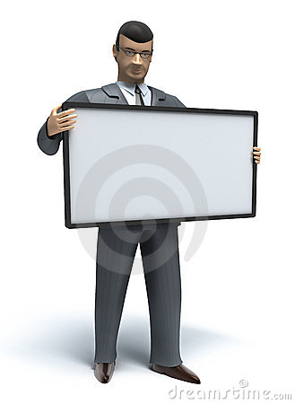 Businessman and empty board