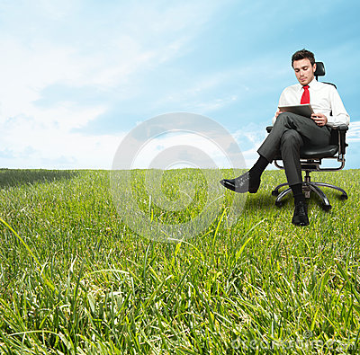 Businessman enjoying a relaxing day