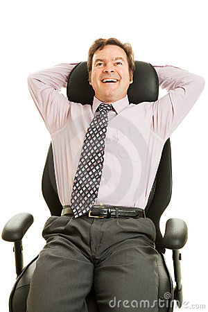 Businessman Enjoys Ergonomic Chair