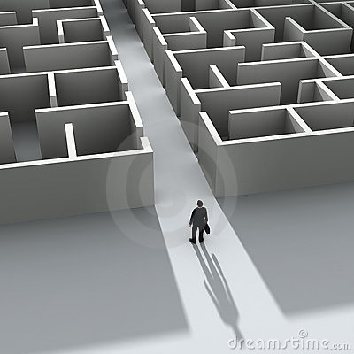 Businessman entering the labyrinth