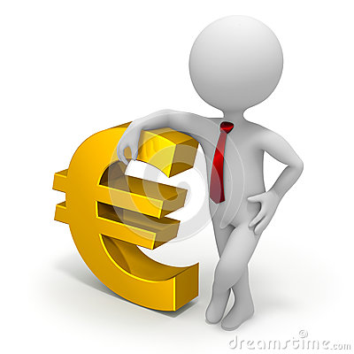Businessman and euro currency symbol