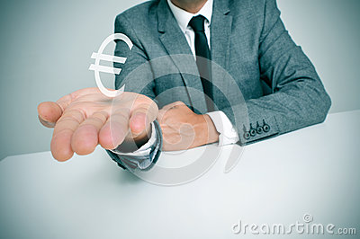 Businessman and euro sign