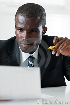 Free Businessman Examining Documents Stock Photography - 9334502