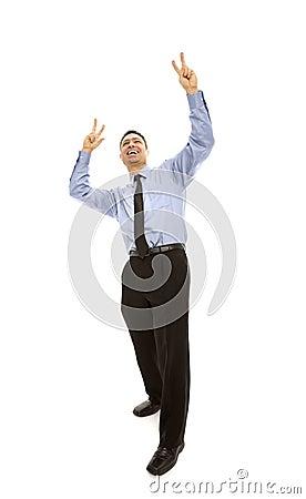 Businessman expresses triumph