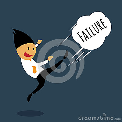 Businessman failure emotions by kicking away.