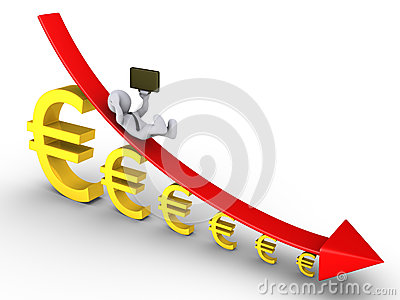 Businessman falling from descending graph of euros