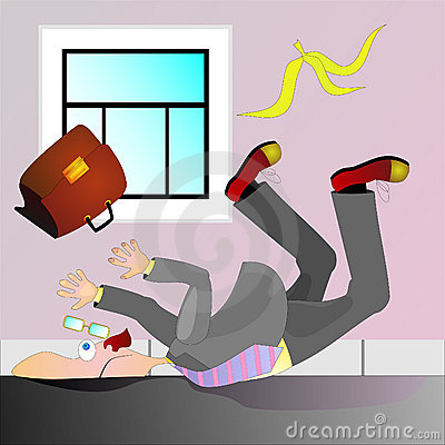Businessman falling headlong of banana peel