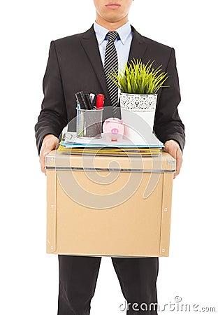 Businessman felling sad and belongings