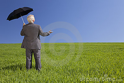 Businessman In A Field With An Umbrella
