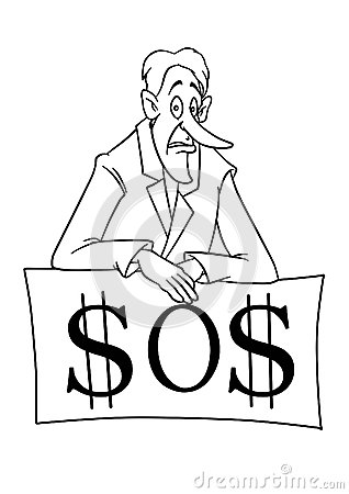 Businessman financial crisis  dollar cartoon