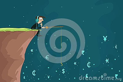 Businessman fishing Currency