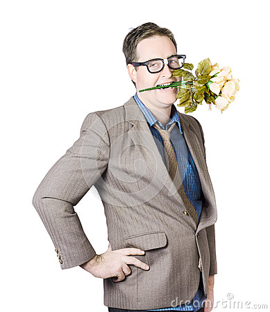 Businessman With Flowers In Mouth