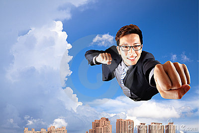 Businessman fly in sky like superman