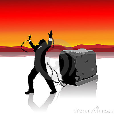 Businessman breaks free Illustration : Dreamstime