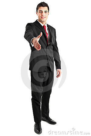 Businessman full length handshake