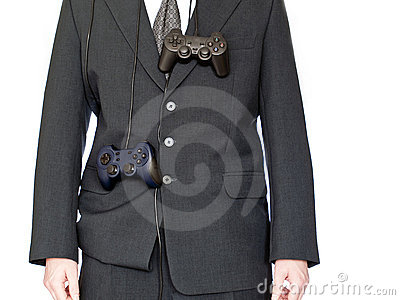 Businessman with gamepad