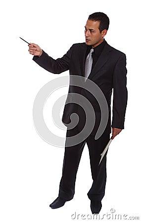 Businessman gesturing