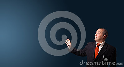 Businessman gesturing with copy space
