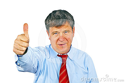 Businessman gesturing with hand