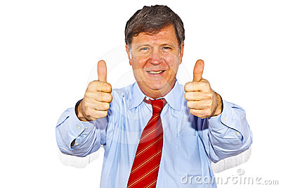 Businessman gesturing with hand
