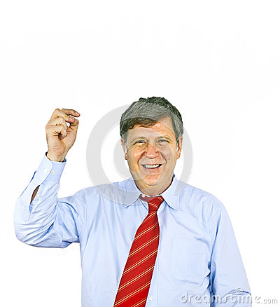 Businessman gesturing with hand,