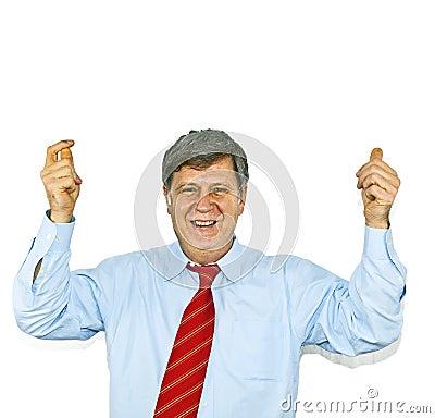 Businessman gesturing with hand,
